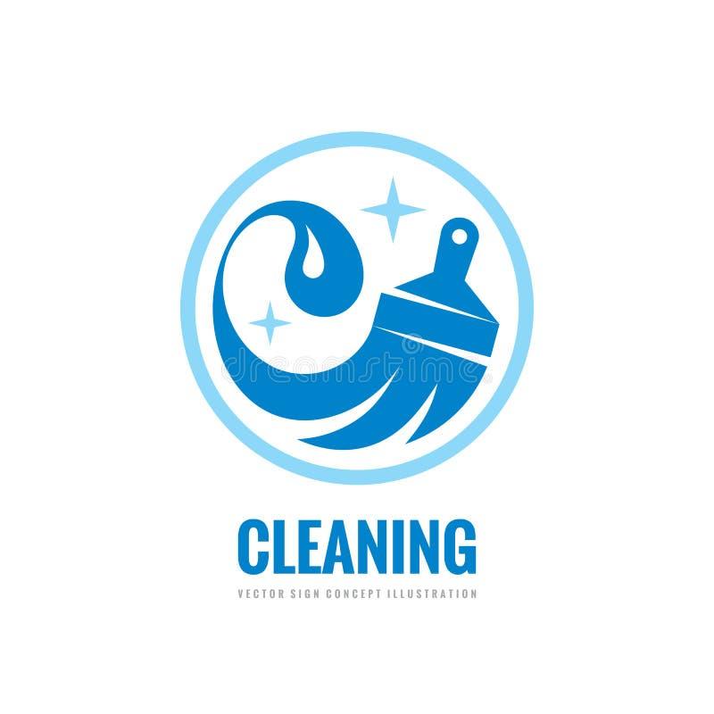 Serviço da limpeza - vector a ilustração do conceito do molde do logotipo do negócio Sinal do agregado familiar da lavagem Elemen ilustração do vetor