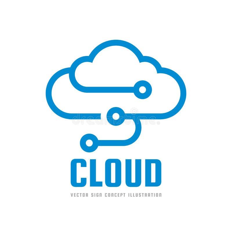 Serviço da nuvem - vector a ilustração do conceito do molde do logotipo Ícone da transferência da transferência de arquivo pela r ilustração royalty free
