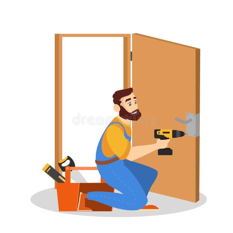 Serviço da porta Reparador no uniforme com equipamento especial ilustração royalty free