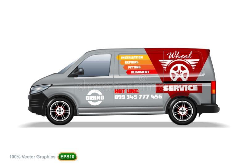 Serviço da roda Grey Delivery camionete molde Com anuncie, disposição editável ilustração do vetor
