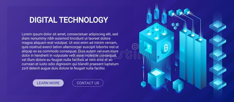Serviço de acolhimento, centro de dados grande, cryptocurrency e conceito isométrico do molde da bandeira da composição do blockc ilustração royalty free