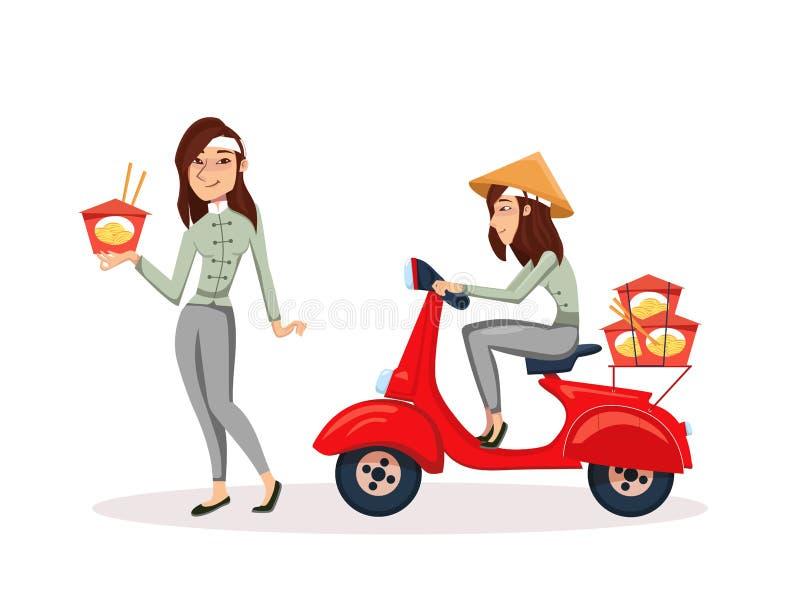 Serviço de alimentação asiático da entrega rápida pelo 'trotinette' com correio 'trotinette' da equitação da ilustração do caráte ilustração do vetor