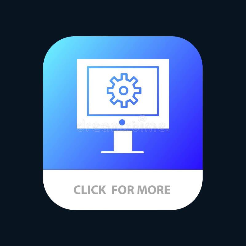 Serviço de assistência em linha, assistência técnica, suporte laboral, botão móvel do App da manutenção da Web Android e do Glyph ilustração do vetor