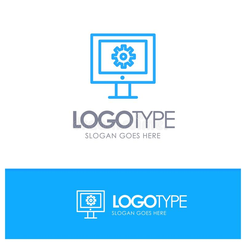 Serviço de assistência em linha, assistência técnica, suporte laboral, esboço azul Logo Place da manutenção da Web para o Tagline ilustração do vetor