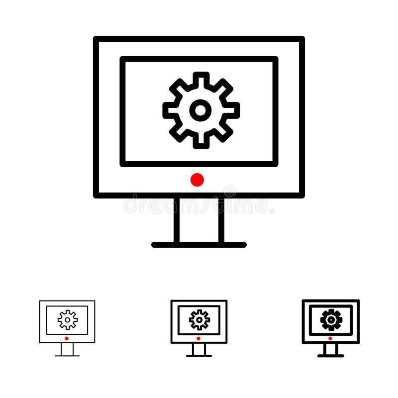 Serviço de assistência em linha, assistência técnica, suporte laboral, linha preta corajosa e fina grupo da manutenção da Web do  ilustração royalty free