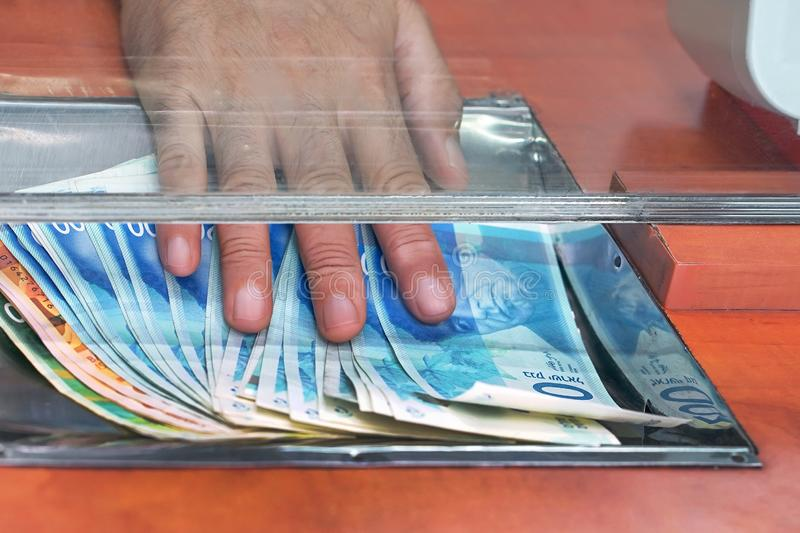 Serviço de câmbio Conceito financeiro israeli shekel foto de stock