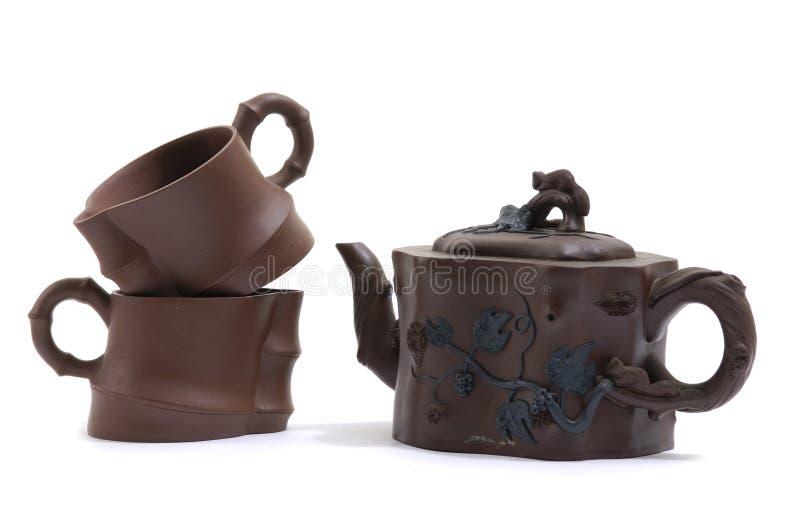 Serviço de chá da cerâmica fotografia de stock