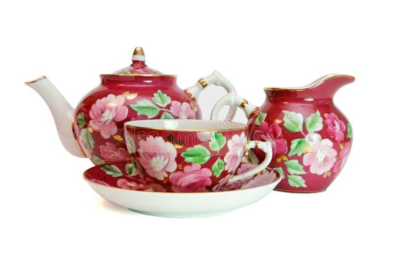 Serviço de chá da porcelana isolado fotos de stock royalty free