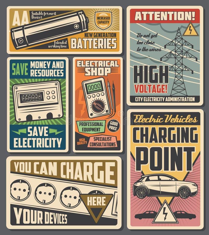 Serviço de eletricidade, carregamento de veículos elétricos ilustração do vetor
