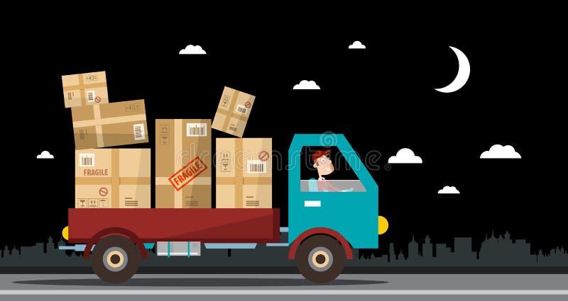 Serviço de entrega da noite Van completo dos pacotes na rua ilustração royalty free