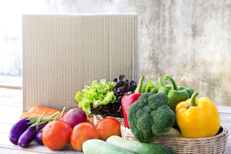 Serviço de entrega do alimento: Ordem em linha vegetal f da entrega em casa foto de stock