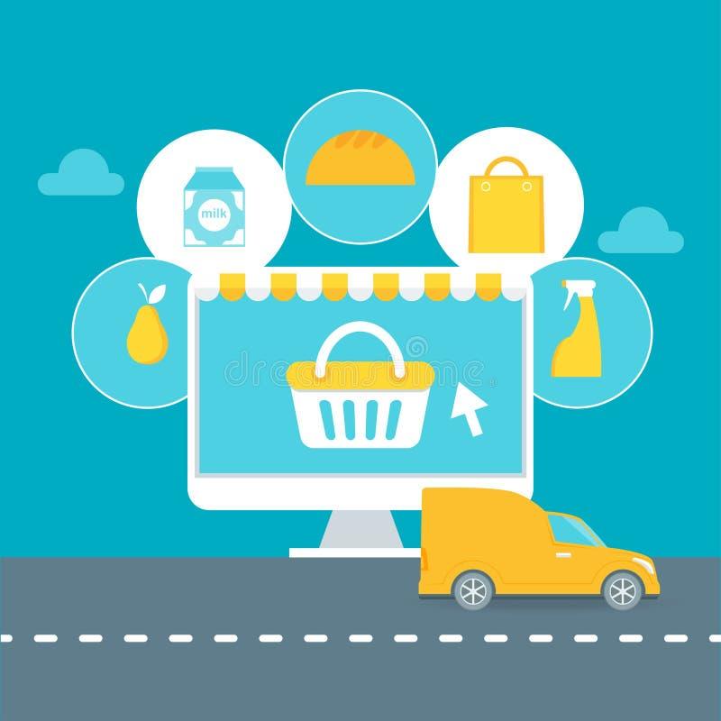Serviço de entrega do supermercado ou ilustração em linha do supermercado ilustração stock