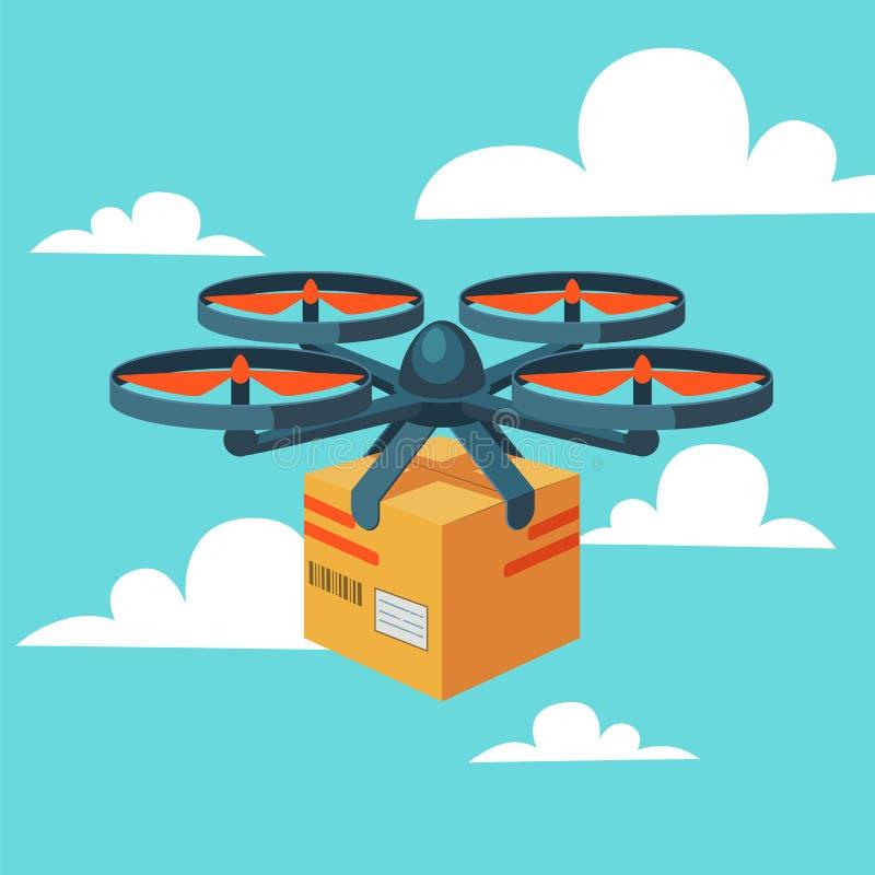 Serviço de entrega do zangão Zangão remoto do ar com pacote Entrega moderna do pacote voando o quadcopter Estilo liso ilustração do vetor