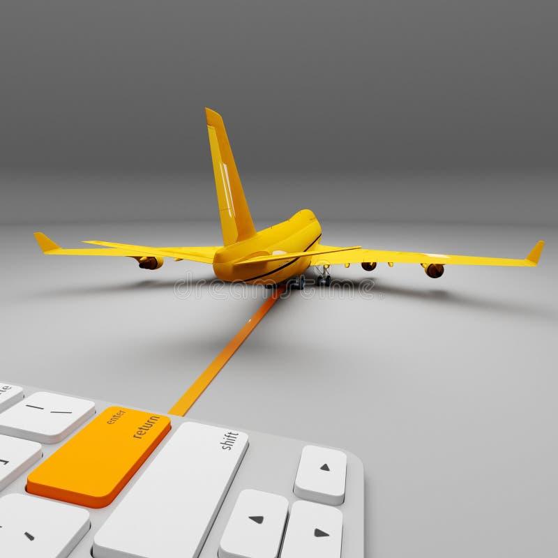 Serviço de entrega expresso do ar do avia do correio internacional do cargo Conceito de uma entrega do clique ilustração 3D ilustração stock