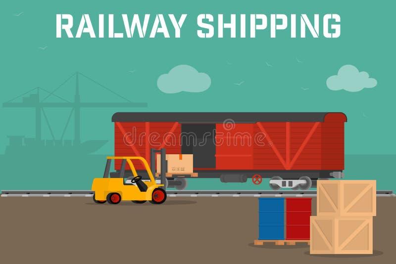 Serviço de entrega Railway do transporte do conceito logístico ilustração royalty free