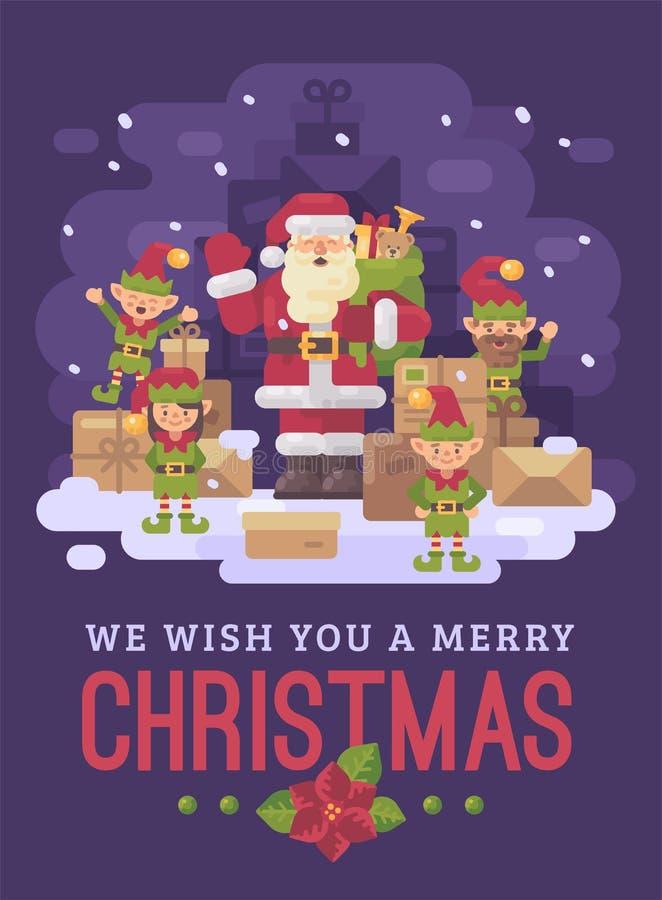 Serviço de entrega de Santa Claus Santa com uma equipe dos duendes e uma pilha dos pacotes e presentes em uma noite nevado do inv ilustração royalty free
