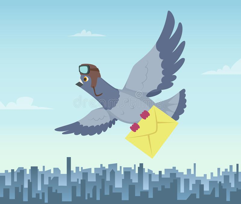 Serviço de envio pelo correio com pombos do voo Símbolos da entrega de ar ilustração stock