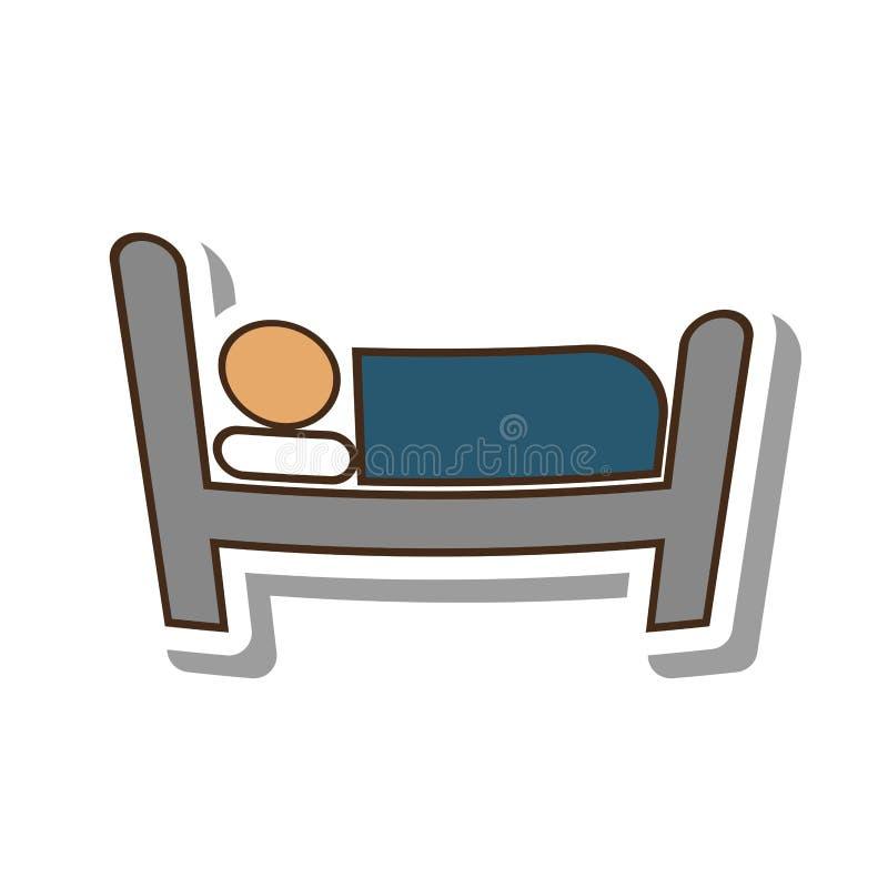 Serviço de hotel do sono da pessoa ilustração do vetor
