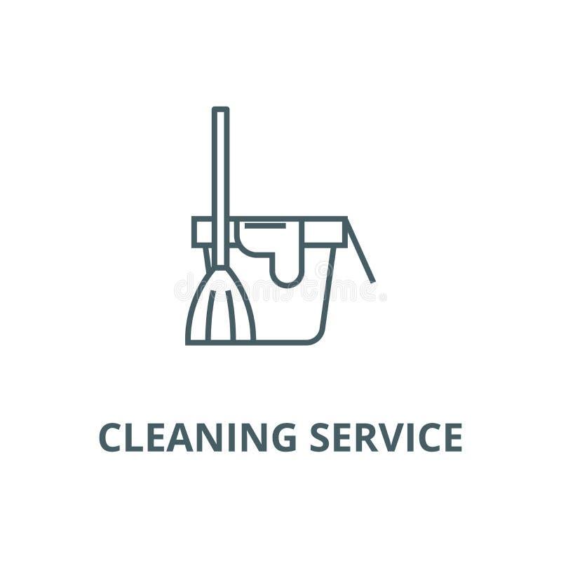 Serviço de limpeza, cubeta com uma linha ícone da vassoura, vetor Serviço de limpeza, cubeta com um sinal do esboço da vassou ilustração royalty free
