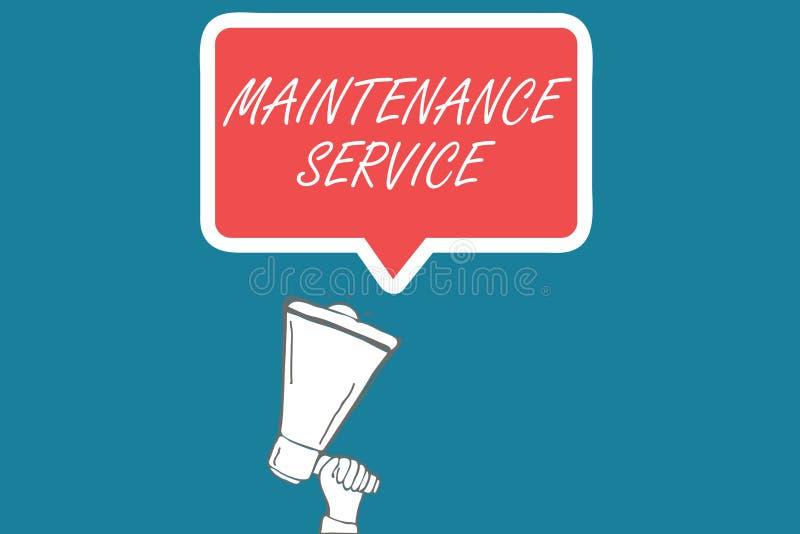 Serviço de manutenção do texto da escrita O significado do conceito mantém um serviço do produto na boa condição operacional ilustração stock