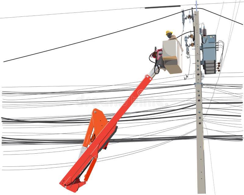 Serviço de manutenção do trabalhador de alta tensão alo dos polos da eletricidade ilustração stock