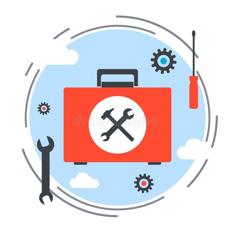 Serviço de manutenção, suporte laboral, conceito do vetor do serviço da ajuda ilustração stock