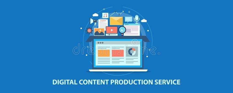 Serviço de produção do conteúdo digital - escrita de cópia - edição video - podcasting - mercado digital Bandeira lisa do vetor d ilustração stock