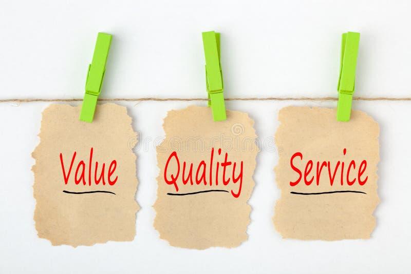 Serviço de qualidade do valor escrito no papel velho fotos de stock royalty free