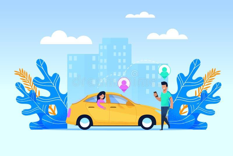 Serviço de transporte do Carpool Caráter liso dos povos ilustração do vetor