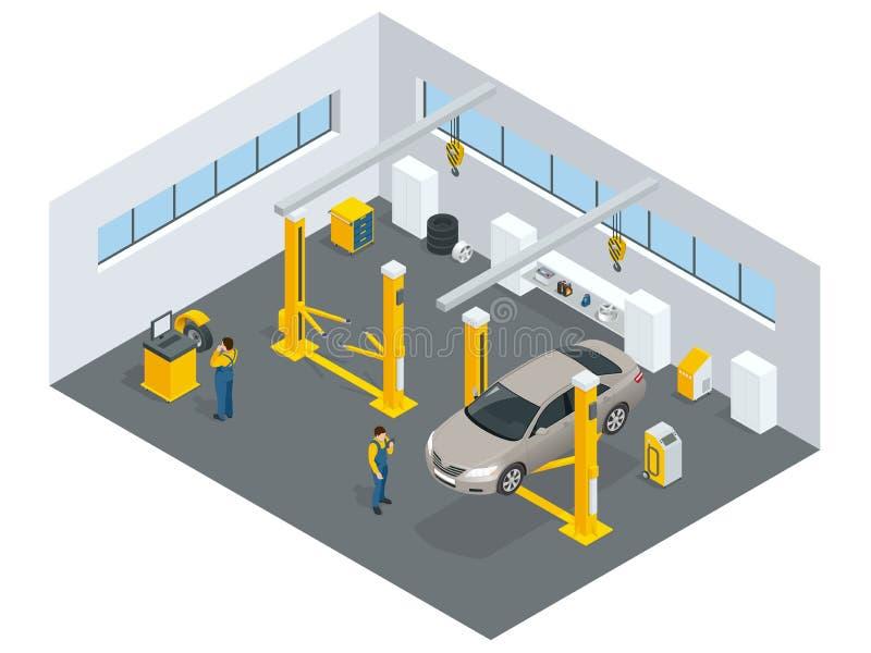 Serviço do auto mecânico Preste serviços de manutenção à estação Ícones lisos ilustração do vetor
