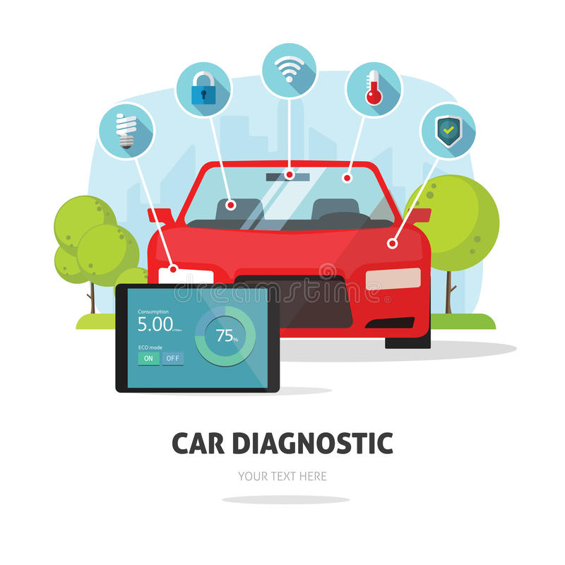 Serviço do carro, conceito do serviço de seguro da colisão ou símbolo diagnóstico da loja da loja do serviço das peças do carro ilustração stock