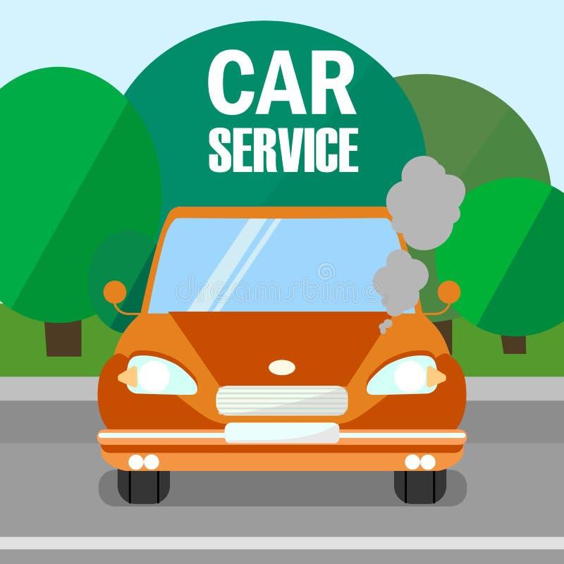 Serviço do carro, molde da bandeira da manutenção do motor ilustração royalty free