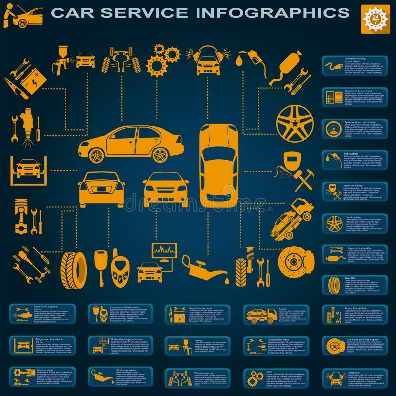 Serviço do carro, reparo Infographics fotografia de stock royalty free