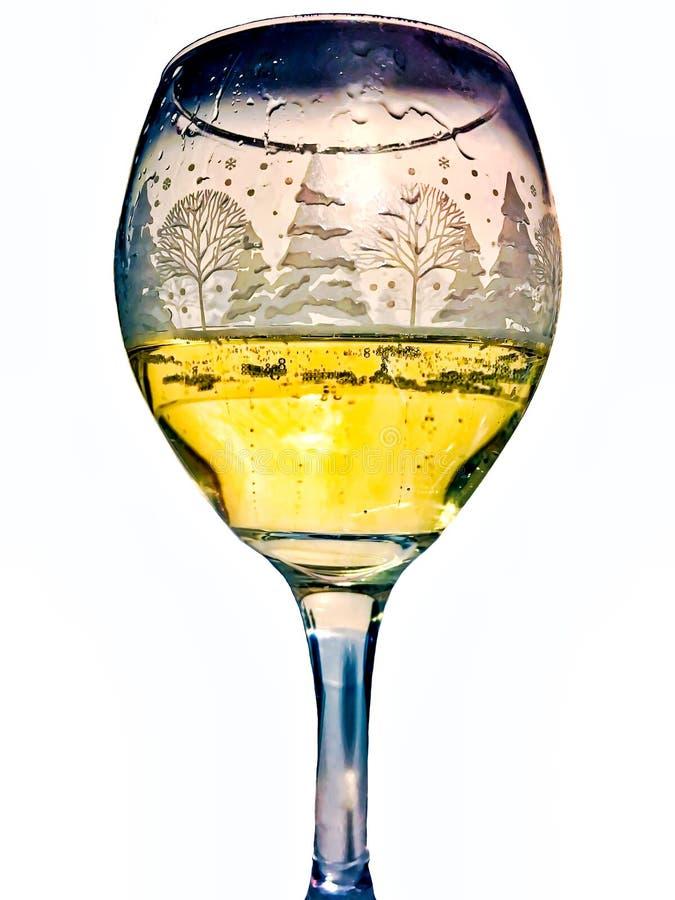 Serviço do champanhe borbulhante em um vidro inverno-temático imagens de stock