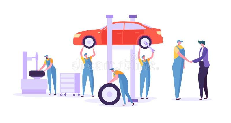 Serviço do reparo do carro auto Mecânico profissional Characters em pneumáticos em mudança uniformes Manutenção técnica do automó ilustração do vetor