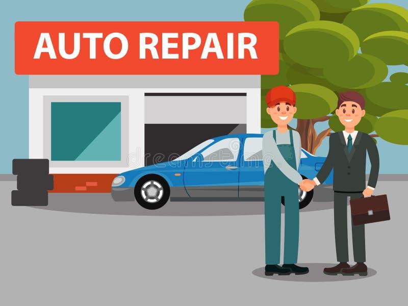 Serviço do reparo do carro auto, mecânicos no uniforme e cliente que agita a ilustração lisa do vetor das mãos ilustração stock