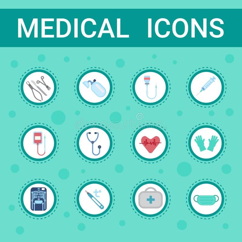 Serviço em linha ajustado ícones do hospital das clínicas dos cuidados médicos do conceito do botão da consulta do equipamento mé ilustração royalty free