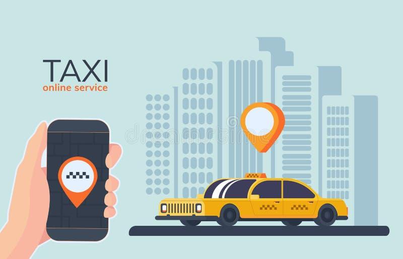 Serviço em linha do carro do táxi Registro em linha do táxi Serviço para passageiros do transporte Telefone móvel à disposicão ilustração stock