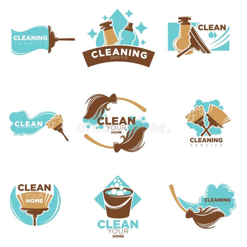 Serviço home da limpeza dos moldes de lavagem ou esfregando dos ícones do vetor ajustados ilustração royalty free
