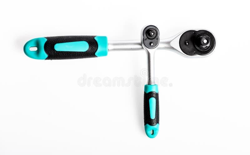 Serviço imbatível Chave de soquete jogo de ferramentas perfeito Aço de vanádio de Chrome equipamento metalizado do reparo Chave d imagem de stock