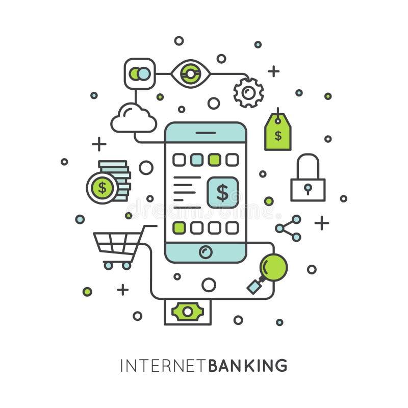Serviço móvel da aplicação dos Internet banking ilustração royalty free