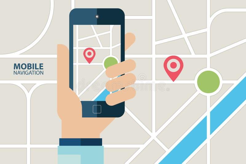 Serviço móvel da navegação de GPS Mão que guarda o telefone celular com aplicação da navegação ilustração stock