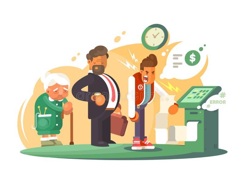 Serviço mau no banco ilustração royalty free