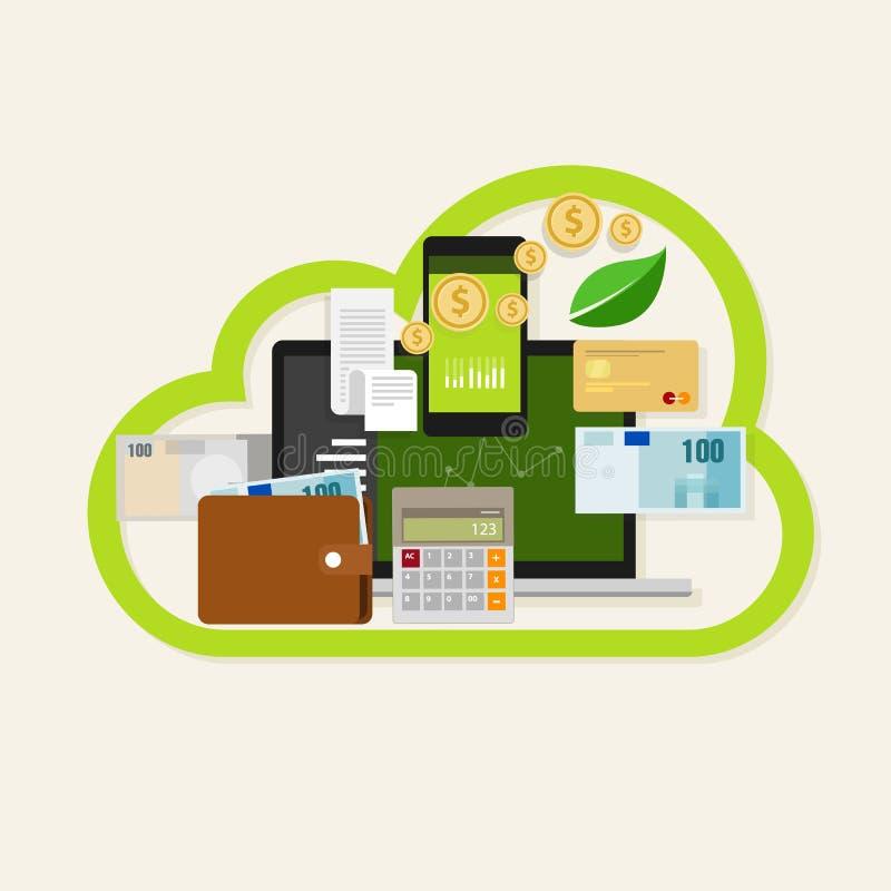 Serviço online financeiro da gestão de dinheiro da nuvem ilustração royalty free