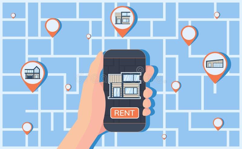 Serviço online para encontrar, registro e alojamento do aluguer Mapa com marcas do geolocation no fundo imagem de stock