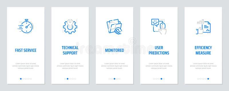 Serviço rápido, suporte laboral, monitorado, previsões do usuário, medida dos cartões verticais da eficiência com metáfora fortes ilustração royalty free