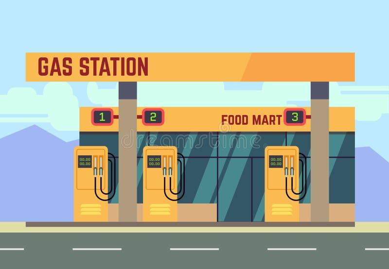 Serviço relacionado do transporte do posto de gasolina do gás ilustração royalty free