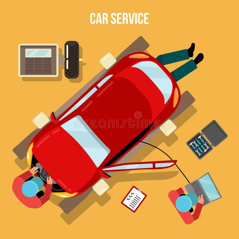 Serviço, reparos e diagnósticos do carro Auto Maintanence ilustração do vetor