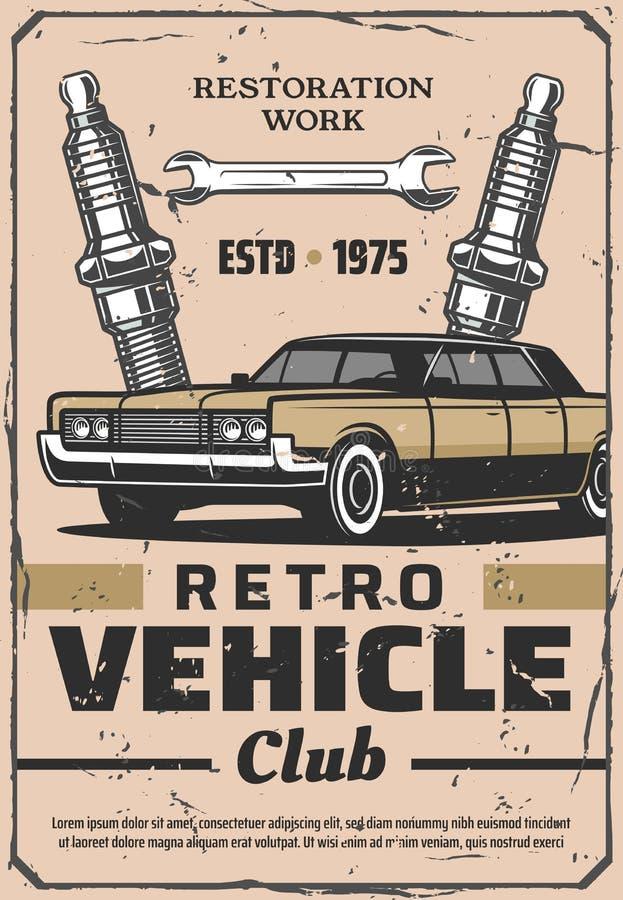 Serviço retro e sobressalentes do carro ilustração stock