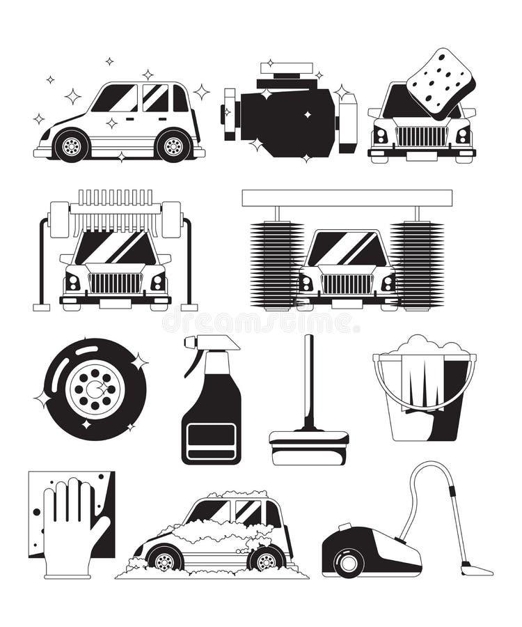 Serviço seco do carro da lavagem Silhuetas de lavagem do vetor do preto da esponja da espuma das bolhas limpas da água da esponja ilustração do vetor